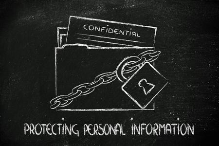 company secrets: concetto di sicurezza dei dati e delle informazioni personali, cartella con lucchetto e catene