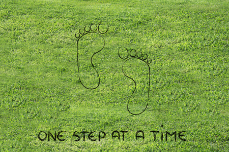 funny footprints: move forward, advance, innovate, express your potential Stock Photo