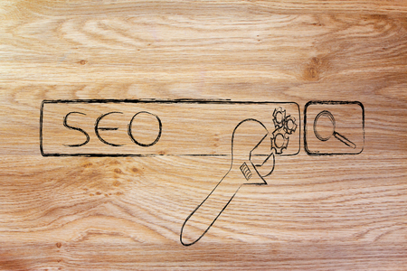 conceptual design about search engine optimization with search bar and wrench Stock Photo - 29200939