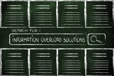 information overload, reliable sources and searching for online documents Stock Photo - 29221302