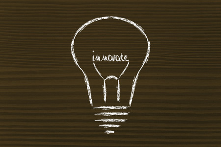 ideas for innovation, lightbulb with the writing Innovate as filament
