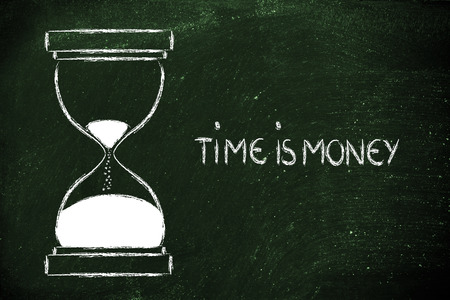 concept of not wasting time: time is money, hourglass time photo