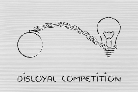 disloyal: idea stuck with ball and chain, effects of unfair competition Stock Photo