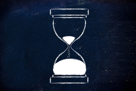 wasting: concept of not wasting time, hourglass time Stock Photo