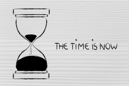 concept of not wasting time, hourglass time photo