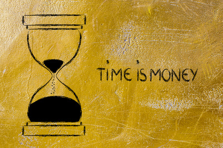 wasting: concept of not wasting time: time is money, hourglass time Stock Photo