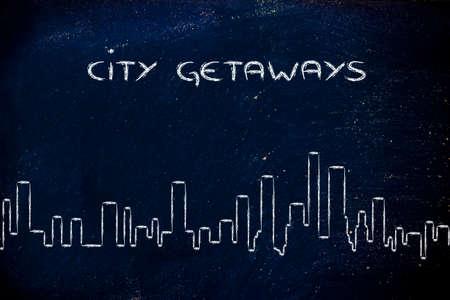 getaways: horizonte de una ciudad gen�rica, escapadas urbanas y reserva de vacaciones Foto de archivo