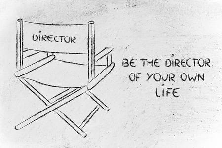 あなた自身の人生の監督であるあなた自身のストーリーを作成します。 写真素材