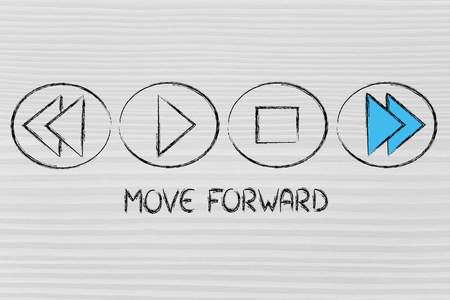 function key: MOVE FORWARD, music or video device symbol metaphor Stock Photo