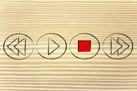 activated: STOP button activated, music or video multimedia device design Stock Photo