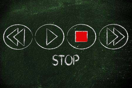 function key: STOP button activated, music or video multimedia device design Stock Photo