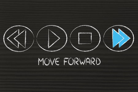 MOVE FORWARD, music or video device symbol metaphor Stock Photo