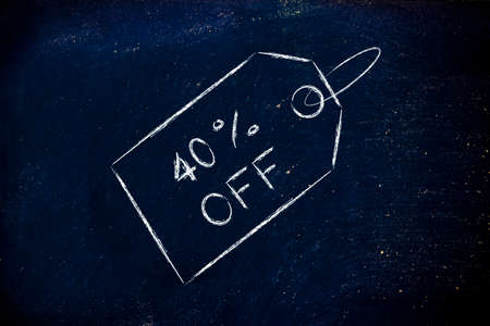 shopping and sales: price tag with 40% off photo
