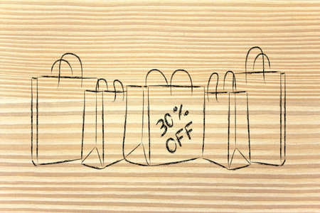thirty: shopping bags with thirty per cent off sales