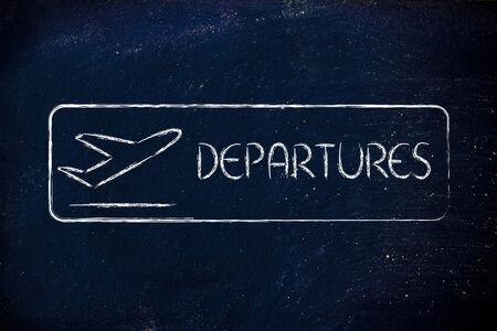 airport terminal departures sign photo