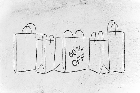 sixty: shopping bags with sixty per cent off sales