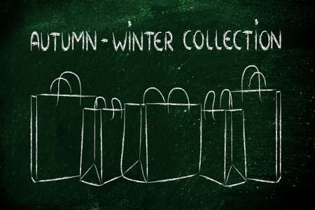 shopping bags with autumn winter collection photo