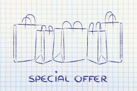 shopping bags with special offer photo