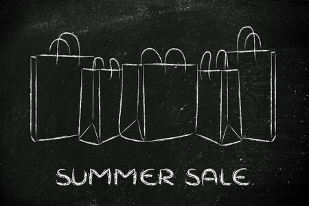 shopping bags with summer sales  photo
