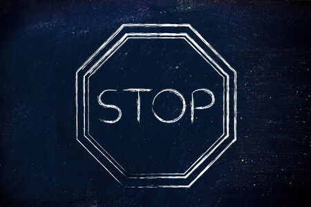 indicate: Stop sign, think before you act design Stock Photo