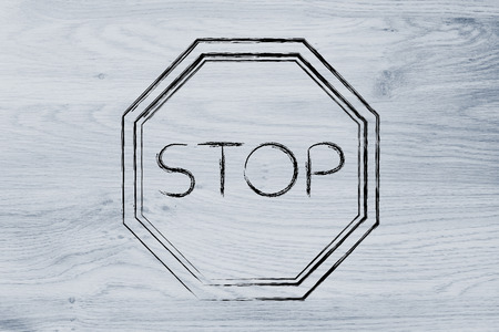 alt: Stop sign, think before you act design Stock Photo