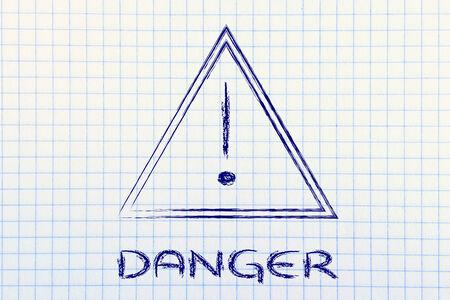 danger ahed, road sign illustration