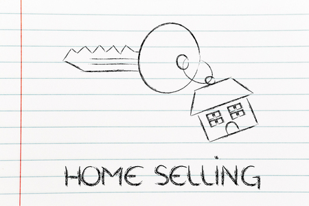 building sector: keys with house keyring, concept of buying or selling home