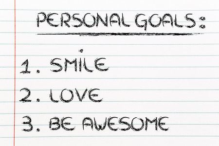 motivational list for reaching happiness: smile, love and be awesome photo