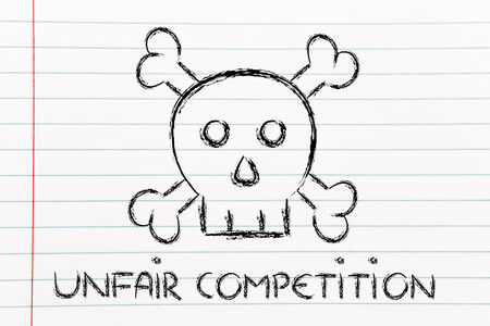 disloyal: dangerous unfair competition threatening business survival, skull metaphor