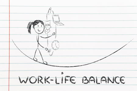 work-life balance: working mother juggling with pc and pacifier Stock Photo