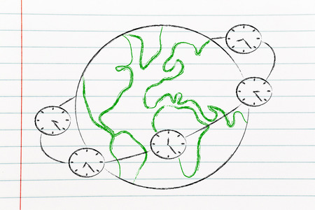 lag: metaphor of time zones and global business, clocks around the world