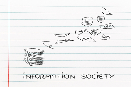 documents flying in the air, information and data overload or lack of organisation