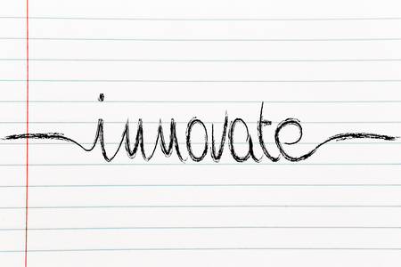 innovate: innovate, minimalistic handwriting calligraphy Stock Photo