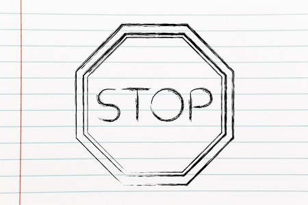 slow down: Stop sign, think before you act design Stock Photo
