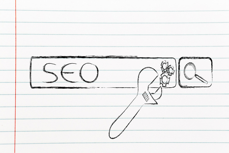 pageviews: conceptual design about search engine optimization with search bar and wrench