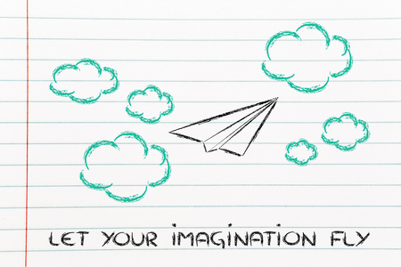 inventive: set your imagination free, paper airplane in the sky