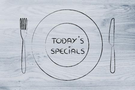 1 日の今日のスペシャル メニュー: フォーク、ナイフとプレートのレストラン テーマ