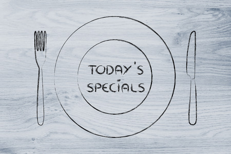 menu of the day and todays specials: fork, knife and plate restaurant theme Stok Fotoğraf