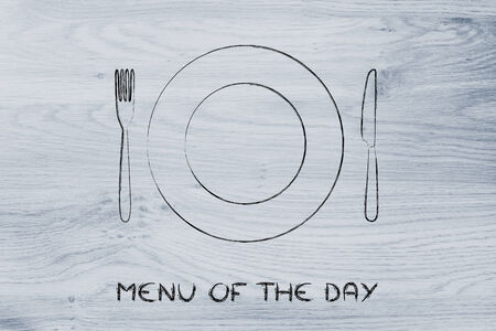 specials: menu of the day and todays specials: fork, knife and plate restaurant theme Stock Photo