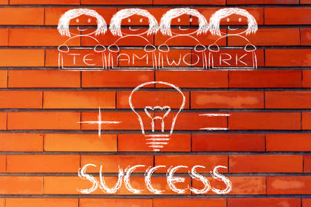 equal opportunity: business success: winning ideas and teamwork (girl version)