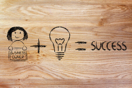 equal opportunity: formula for business success: good ideas and skilled entrepreneur, girl version Stock Photo