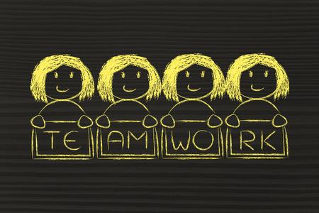 feminism: team work and workforce, funny team of women