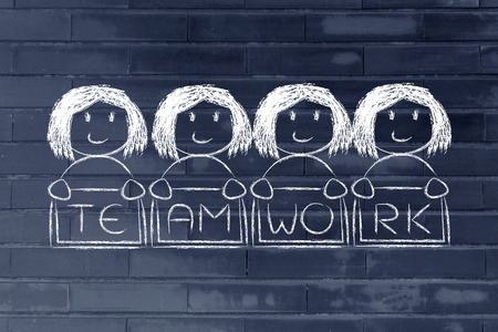 equal opportunity: team work and workforce, funny team of women