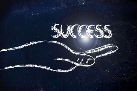 preference: hand holding the writing success, grab your success