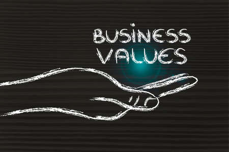 preference: hand holding the writing business values, grab your success