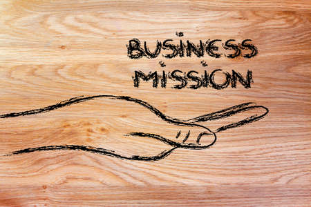 preference: hand holding the writing business mission, grab your success