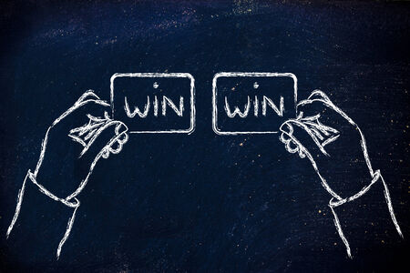 stakeholder: concept of Win Win solutions, hands exchanging agreement