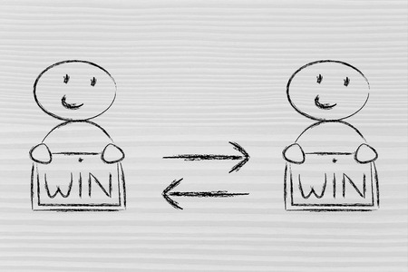 stakeholder: concept of Win Win solutions,characters exchanging agreement