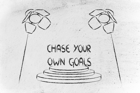 chase your own goals, spotlights design Stock Photo
