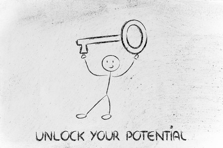 unlock your potential, funny character holding oversized key Stock Photo